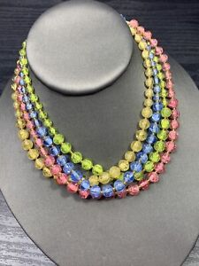 Vintage 1950s beaded Pastel cracked marble glass Necklace Hook Clasp 4 Strand
