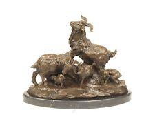 Bronze Skulptur Ziegenfamilie Ziege neu 9973338-dssp