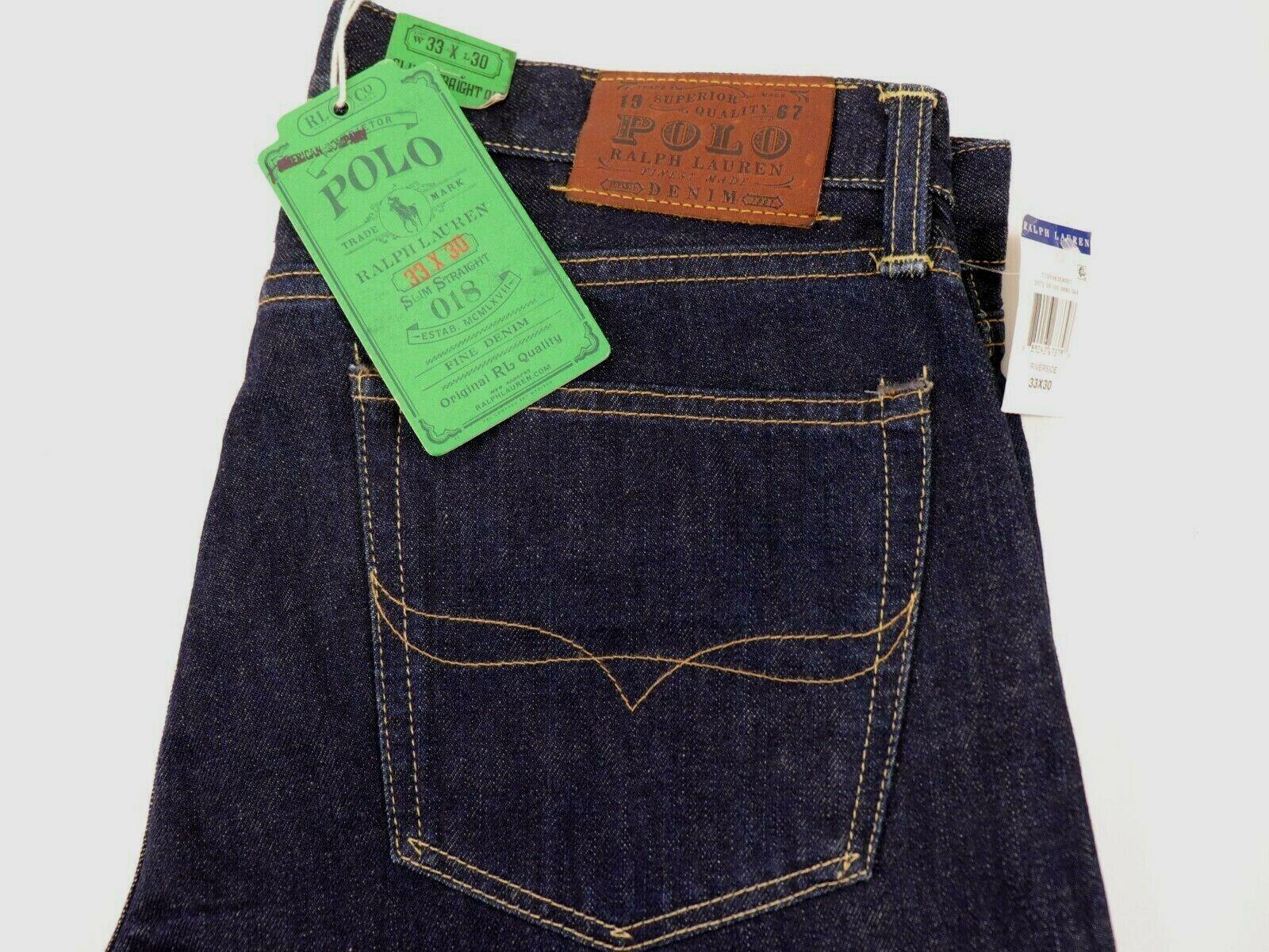 NWT POLO RALPH LAUREN 33x30 Men's Dark Wash SLIM STRAIGHT 018 Riverside Jean