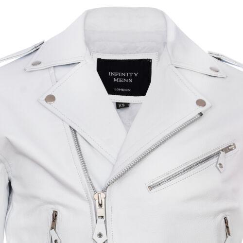 Elegante maschile in pelle bianca casual Brando Giacca Da Motociclista