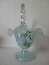 Fenton  10.5'' Aquamarin Opal  Iridized '' Winter Wonderland '' Basket  Gorgeous