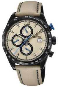 Festina Mens Sport Chronograph Cream Leather Strap F20344/1 Watch - 9% OFF!