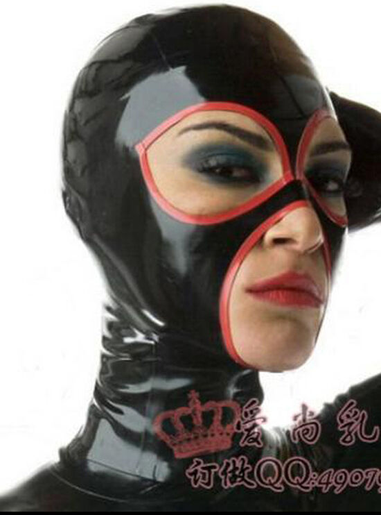 100% Latex Rubber Gummi Hood Mask With Trim 0.8mm Catsuit Bodysuit Party Unique