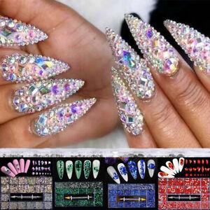 20Grids 3D Edelsteine Kristall Nail Art Strass Multi-Größen Flatback Glitzer