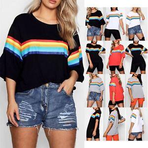 Womens Ladies Batwing Short Sleeve Oversized Tee Lips Rainbow Baggy T Shirt Top