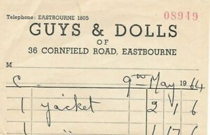 Vintage 1964 Guys and Dolls 36 Cornfield Road Eastbourne Clothing Receipt