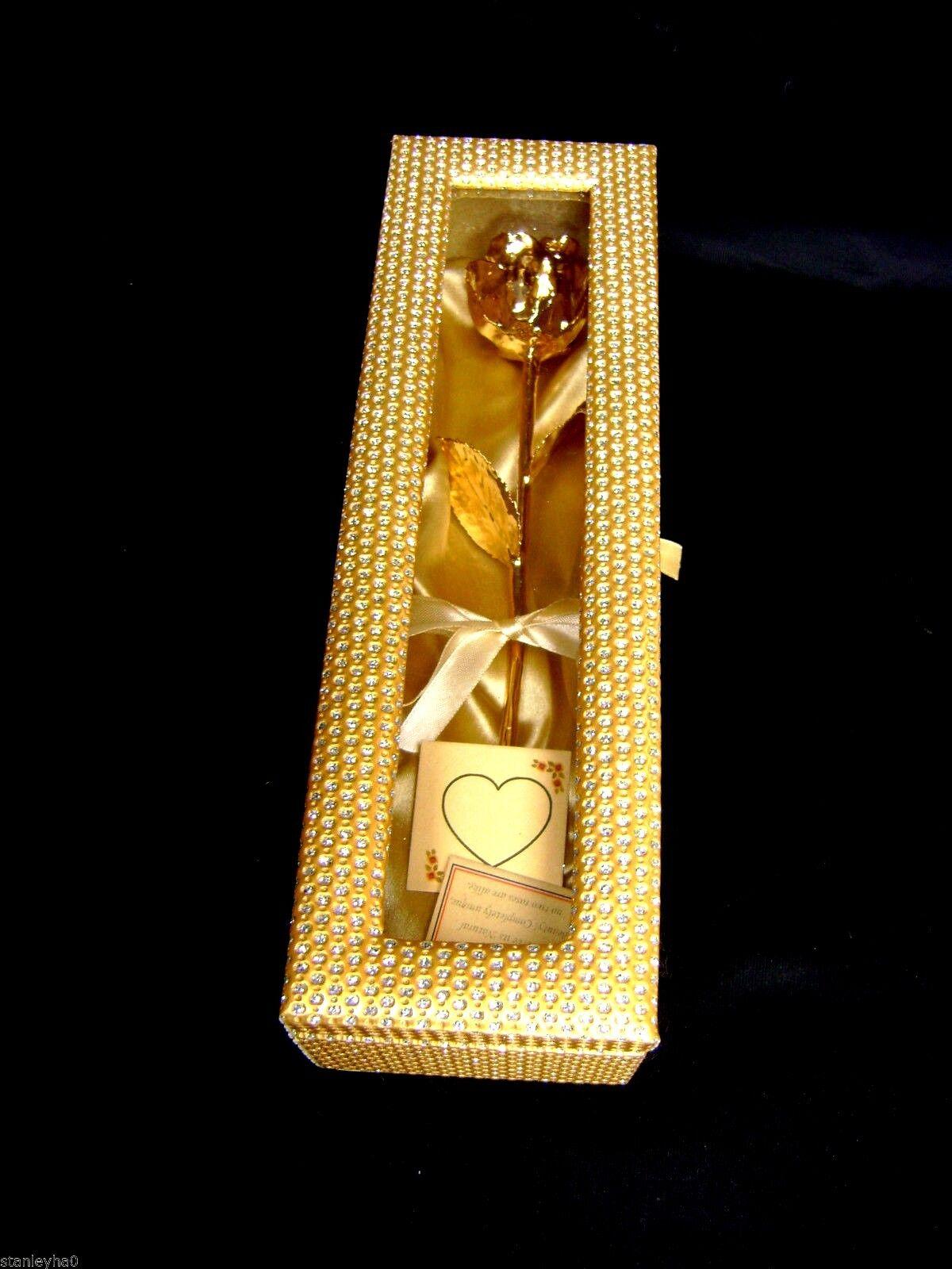 Cadeau de noël 12 pouces 24K Or dipped  dipped Or real rose dans un or égyptien cercueil nouveau f92b12
