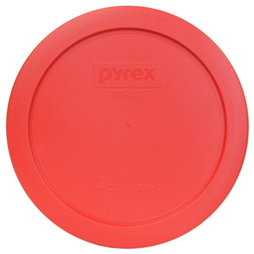 """Pyrex 7201-PC 6/"""" Red Round Plastic Cover Lid 2 Pack New for 4 Cup Glass Bowl"""