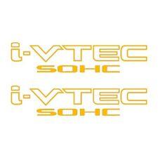 Two(2) Gold HONDA I-VTEC SOHC Car Decal Vinyl Window Wall Sticker JDM