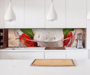 Details zu Aufkleber Küchenrückwand Eis Erdbeere Beeren Küche Folie  Spritzschutz 22А1309
