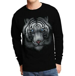 Velocitee Mens Hoodie Majestic White Tiger Face A15442