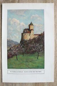 Kunst-Druck-1-Blatt-1908-09-Trostburg-bei-Maidbruck-nach-Prof-Peter-Paul-Mueller