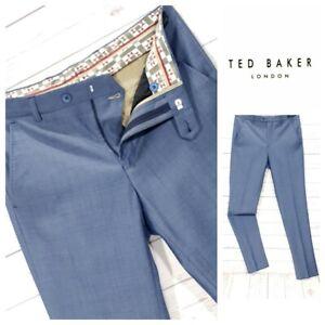para-Hombre-Ted-Baker-dectro-Moderno-Pantalones-de-ajuste-de-Lana-Formal-Talla-30R-W30-L32