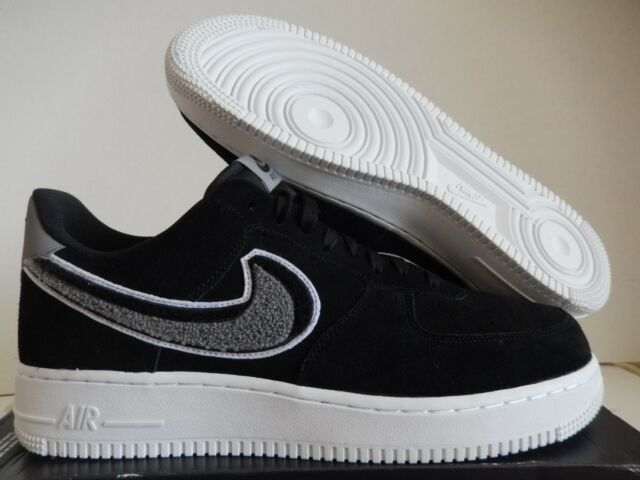 new product aa358 bca9b Nike Air Force 1  07 Lv8 Chenille Swoosh Mens 823511-014 Black Shoes Size  11.5
