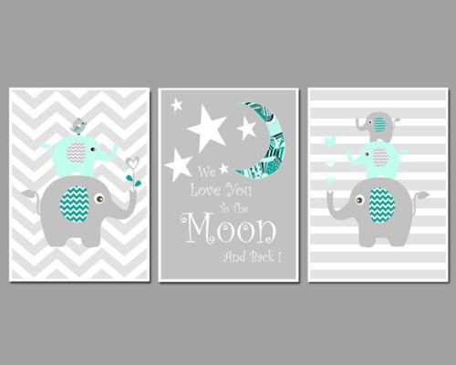 Nursery Art Prints 3 Mint /& Grey Elle Stacks We Love You To The Moon /& Back
