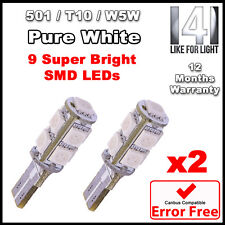 2 x Pure WHITE 9 SMD LED 501 W5W T10 CANBUS ERROR FREE SIDELIGHT BULBS 6000K