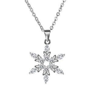 925-Sterling-Silber-Schneeflocke-Halskette-Kristall-Zirkonia-Schmuck-Muttertag