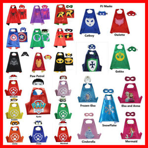 Superhero Cape & Mask for Boys Girls Kids Party Costume Set Spiderman Spidergirl
