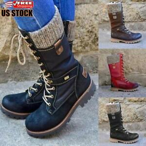 Women-039-s-Flat-Lace-Up-Mid-Calf-Boots-Ladies-Biker-Riding-Winter-Warm-Shoes-Size