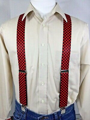 """1.5/"""" Adj Men/'s Made in the USA XL New Suspenders // Braces Navy Blue"""