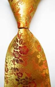 New-Classic-Floral-Yellow-Gold-JACQUARD-WOVEN-100-Silk-Men-039-s-Tie-Necktie