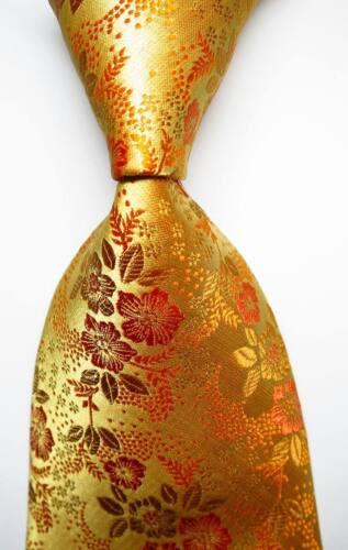 New Classic Floral Yellow Gold JACQUARD WOVEN 100/% Silk Men/'s Tie Necktie
