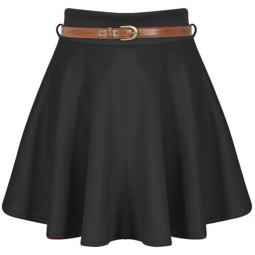 New Womens Belted Skater Skirt Flared Plain Mini Party Dress Size 16-26