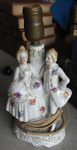 Antique Early 1900s Japan Porcelain Man An Woman Table