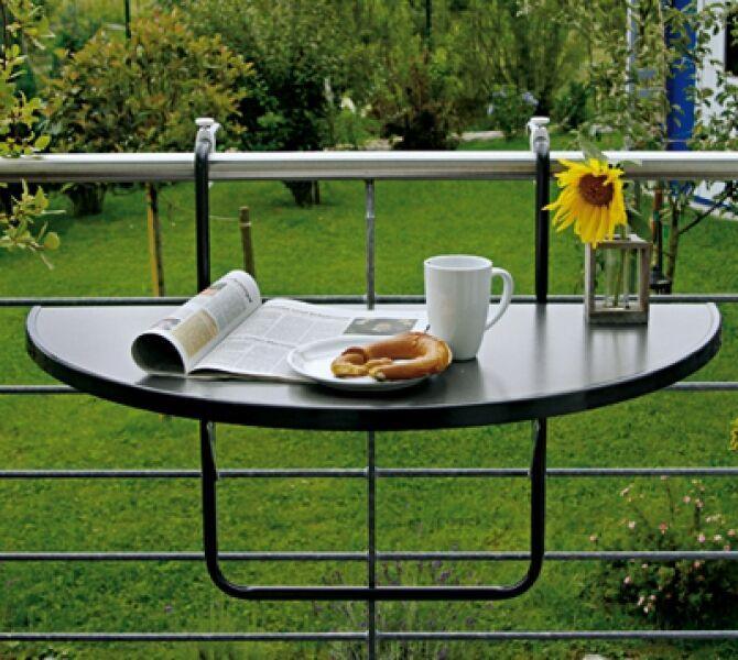 Mesa de balcón mesa para colgar Butler plegable semicircular antracita