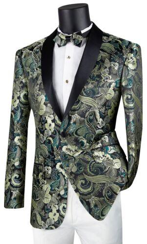 De Sport Hommes Manteau à boutonnage simple 2 Bouton Slim Fit Blazer Floral Vert BSF-9