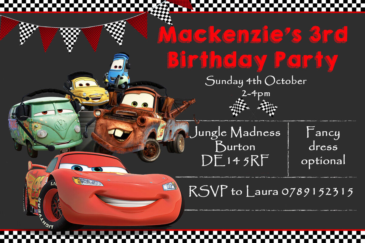 Personalised Cars Lightning McQueen Boy Girl Birthday Party Invites Inc Envelope