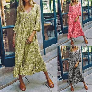 Mode-Femme-Robe-Casual-en-vrac-Loose-Manche-evasee-Col-V-Imprime-Floral-Plisse