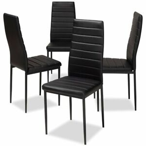 Amazing Details About Set Of 4 Baxton Studio Armand Black Faux Leather Dining Chairs Pabps2019 Chair Design Images Pabps2019Com