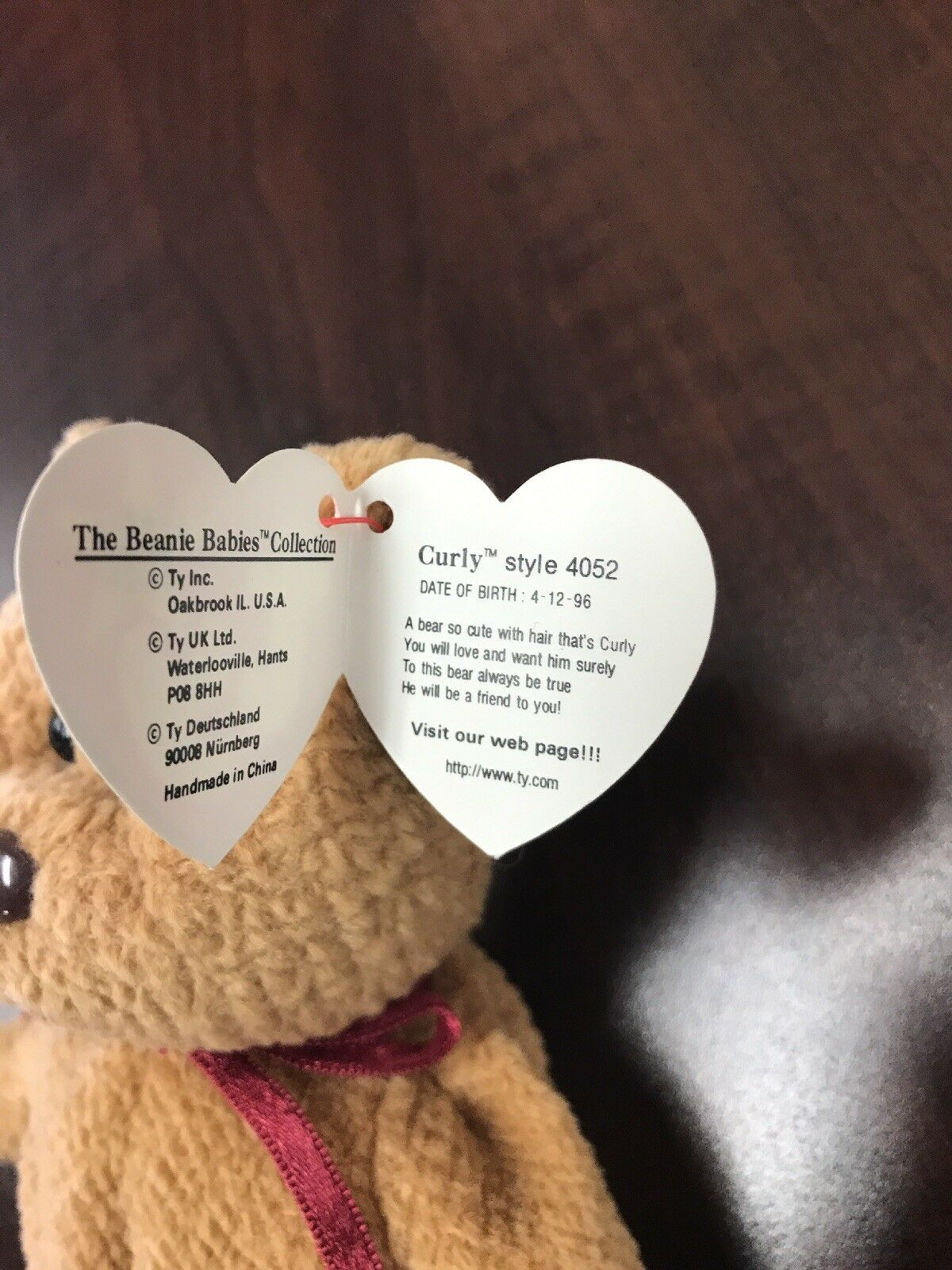 RETIRED TY BEANIE BABY CURLY BEAR WITH WITH WITH TAG ERRORS 4052 (CO62) 97b0fd