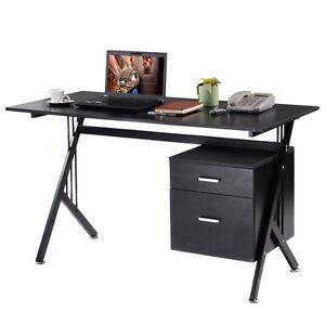 wood laptop writing table computer desk workstation home office black