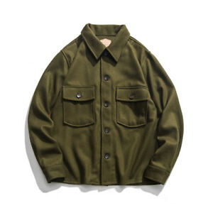 Vintage-70s-Woolen-CPO-Shirt-Jacket-US-Navy-Men-039-s-Military-Coat-Olive-Green-44