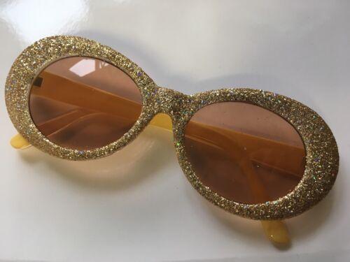 Christmas Clout Goggles Rapper Glasses Sunglasses GOLD GLITTER Oval Pimp Grunge