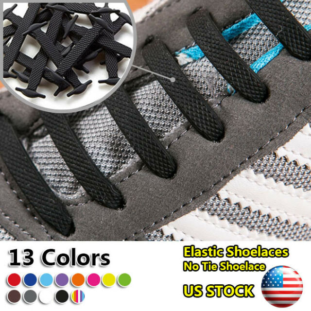 12PCS No Tie Lazy Shoe Laces Colored Silicone Elastic Easy Shoelaces Bootlaces