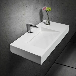 Stone Resin Modern Bathroom Ramped Sink