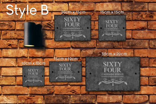 Rustic Natural Slate House Gate Sign Plaque Door Number Personalised Printed
