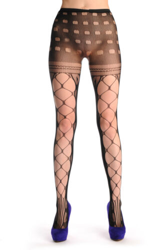 T000201 Mesh With Side Seam and Lace Top Fishnet