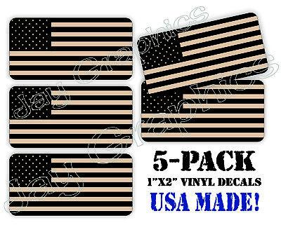 5-pk Coyote Tan American Flag Hard Hat StickersDesert Brown Tactical Ranger
