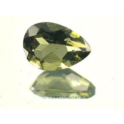C//B MOLDAVITE FACETED CUTTED GEM 5x7mm #BRUS506 0.6cts pear