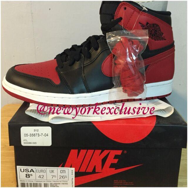 2013 Nike Air Jordan I 1 Retro High OG Black Red 8.5