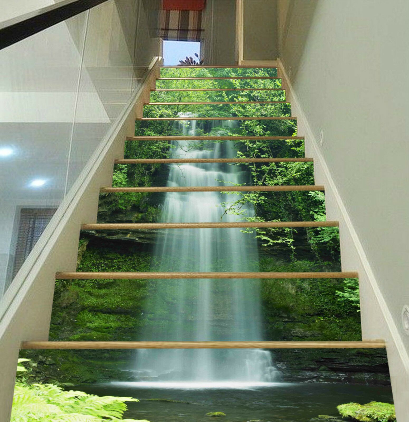 3D Wasserfall Baum 6Stair Risers Dekoration Fototapete Vinyl Aufkleber Tapete DE