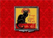 BLACK CAT CHAT NOIR ADVERTISING SALIS VINTAGE AD MAKEUP POCKET COMPACT MIRROR