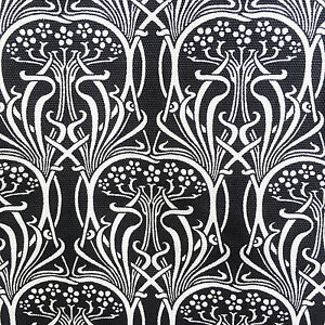 Image Is Loading Art Nouveau Fabric Cotton Duck Black Amp White