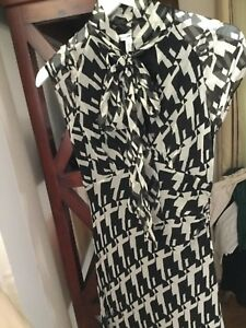 NEW-Diane-von-Furstenberg-DVF-Cap-Sleeve-Bias-Cut-Silk-Dress-with-Neck-Tie-2