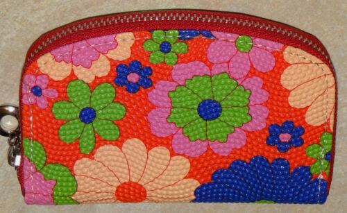 Womens Zippered Wallet Coin Purse-Floral w//Red Zipper