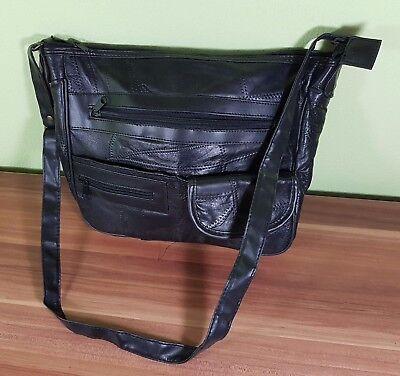 Schöne Damen und Herrentasche Unisex ECHT LEDER Farbe Schwarz 35x25cm TOP!
